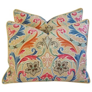 Designer Italian Scalamandre Fabric Pillows - Pair