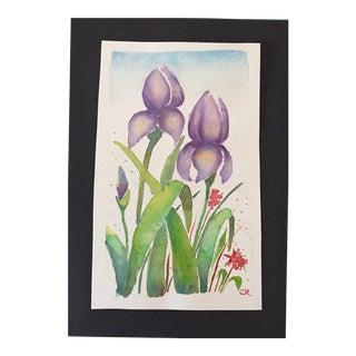 Purple Irises Watercolor Painting