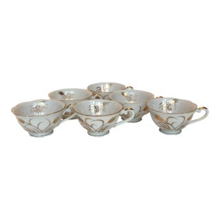 Hand Painted Gilded Teacups - Set of 6