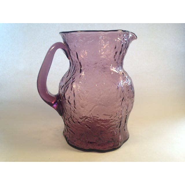 Morgantown Crinkle Glass Amethyst Pitcher - Image 4 of 6