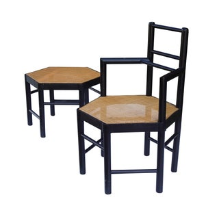 Josef Hoffmann Style Hexagonal Chair & Ottoman Set