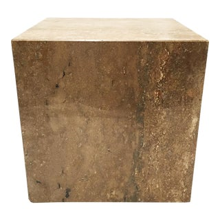 Modernist Stone Cube End Table