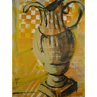 Yellow Pitcher Collage Painting