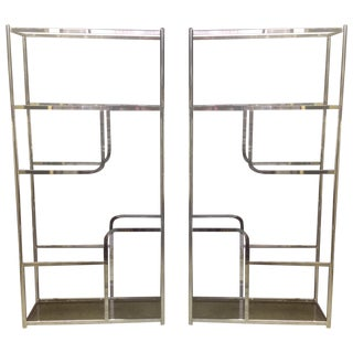 Chrome And Smoked Glass Etagere - Pair