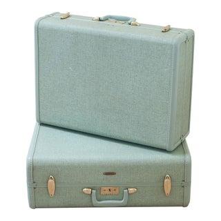 Vintage Samsonite Suitcases Retro Luggage - A Pair