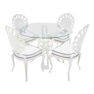 Brown Jordan Grotto Shell Back Chairs and Round Glass Top Table in White
