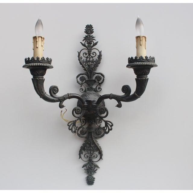 European Metal Wall Sconces - Set of Three - Image 2 of 7