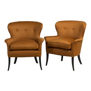 Elegant Pair of Wool Upholstered Armchairs, 1950s