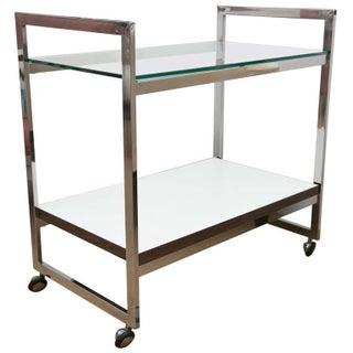 Milo Baughman Style Silver Bar Cart