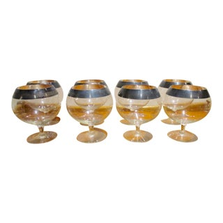 Dorothy Thorpe Silver Rim Brandy Snifters - Set 8