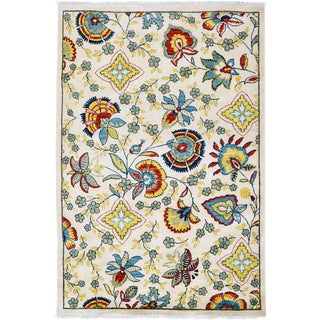 "Floral Suzani Hand Knotted Area Rug - 4'1"" X 6'2"""