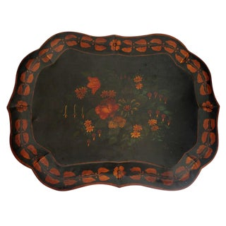 Large 19th Century Original Paint Decorated Tin Tray