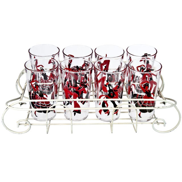 Eight Flamenco Dancer Glasses With Carrier - Image 1 of 3