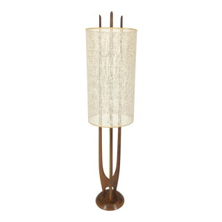 Modeline Walnut and Brass Floor Lamp with Outer Shade, ca. 1959