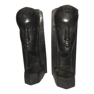 African Mid-Century Figure Bookends- a Pair