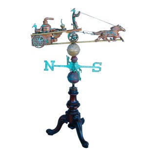 Vintage Copper Fire Engine Truck Weathervane With Stand