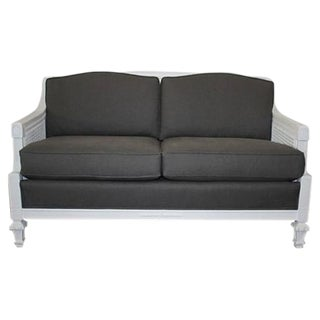 French Style Caned Grey Linen Settee