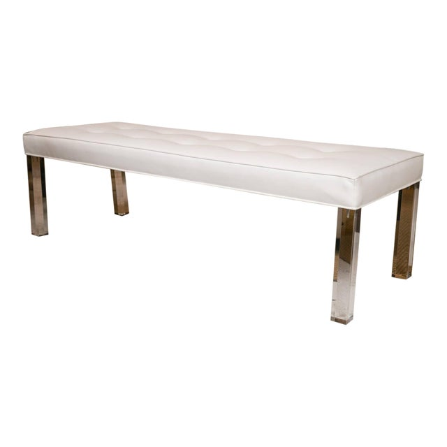Image of Mid-Century Lucite Tufted White Vinyl Bench