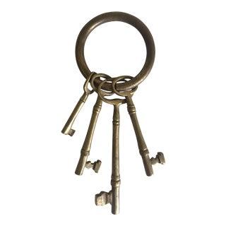 Early 1900's Brass Skeleton Keys on Ring