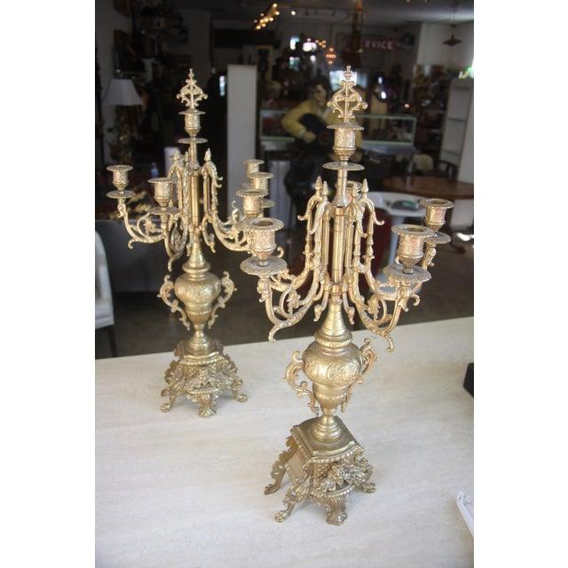 Baroque Italian Bronze Candelabras - A Pair - Image 2 of 10