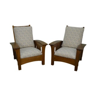 Stickley Mission Oak Pair of Bow Arm Morris Chairs
