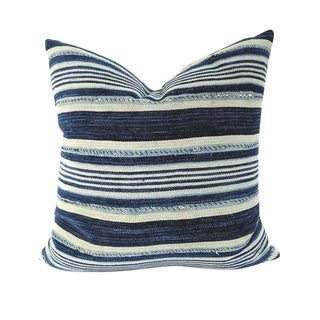 African Indigo Farmhouse Stripe Pillow