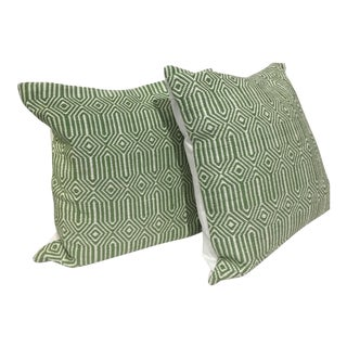 Loloi Ivory & Green Indoor Outdoor Pillows - A Pair