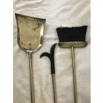 Image of Brass & Black Marble Fireplace Tools Set