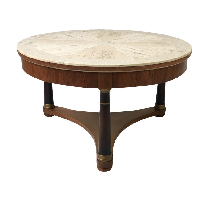 Hollywood Regency Marble Top Coffee Table - Image 1 of 9