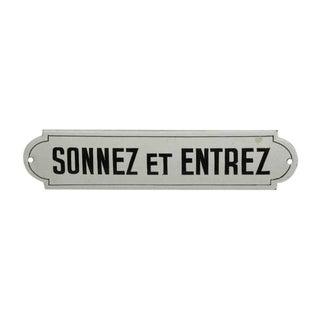 Vintage French 'Sonnez Et Entrez' Wall Sign