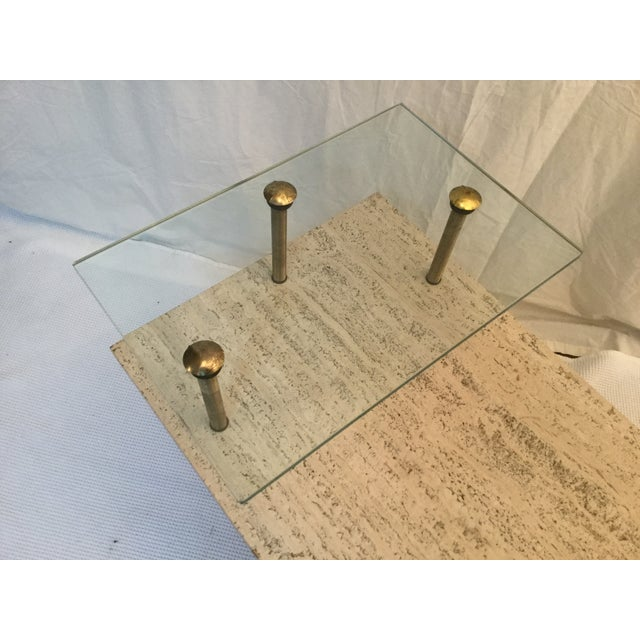 1950's Two Tear Travertine Side Tables - Pair - Image 8 of 11