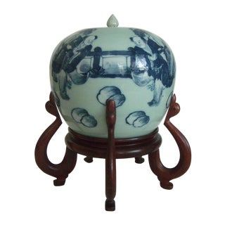 Antique Celadon Chinese Ginger Jar, Rosewood Stand, Blue and White