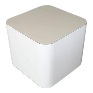 Custom-Made White Laminate Cubic End Table or Pedestal, Small