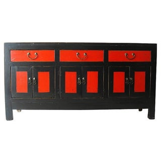 Antique Chinese Black & Red Lacquer Cabinet