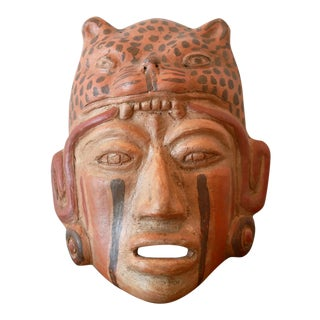 Ceramic Mayan Jaguar Priest Tribal Mask