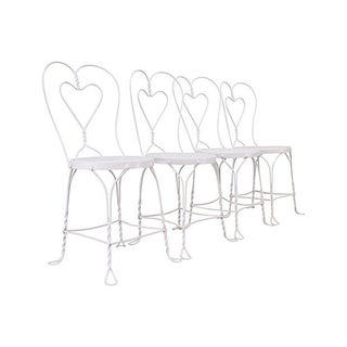 White Loveheart Iron Chairs - Set of 4
