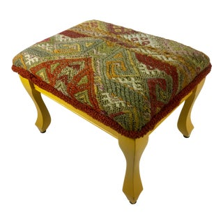 Vintage Turkish Kilim Footstool