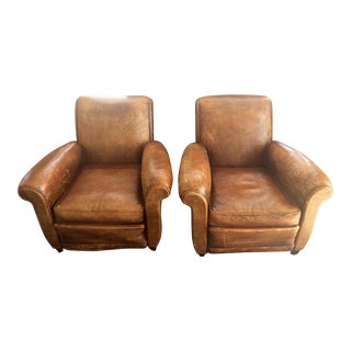 Antique Leather Club Chairs - A Pair