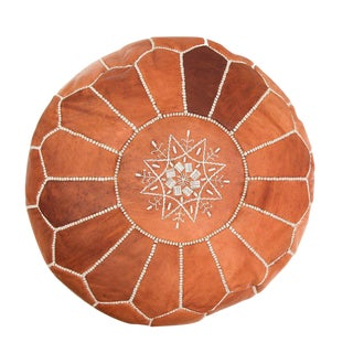 Atlas Tan Leather Pouf
