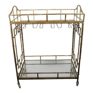 Vintage Mirrored Faux Bamboo Bar Cart