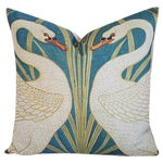 Image of Swans Linen Down & Feather Accent Pillow