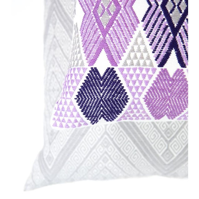 Handwoven Purple & Grey Guatemalan Pillow - Image 4 of 7