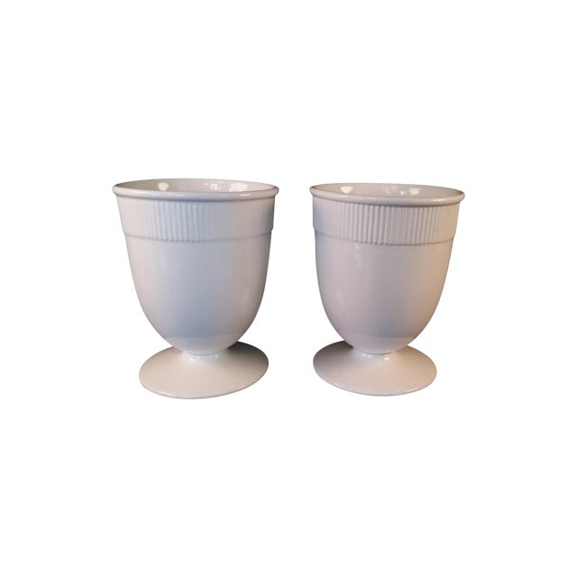 Barbara Barry Small Banded Ceramic Vases - Pair - Image 1 of 4