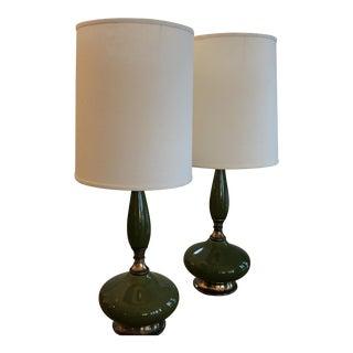 Vintage Avocado Green Ceramic Lamps - A Pair
