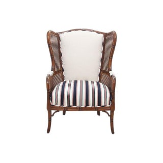 Faux Bamboo Caned Wingback Chair