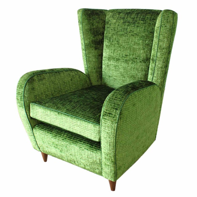 Upholstered Wingback Club Chairs - A Pair - Image 2 of 7
