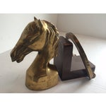 Image of Equestrian Horseshoe Brass Bookends - 2