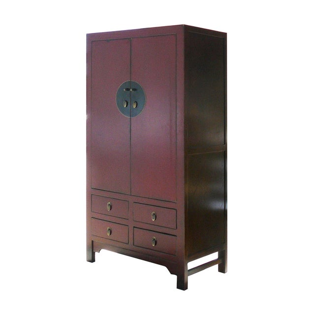 Chinese Asian Red Armoire Cabinet - Image 3 of 6