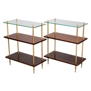 Pair French Mid Century Glass and Walnut 3 Tier Side Tables