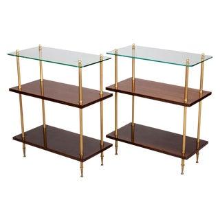 Glass & Walnut 3-Tier Shelf Side Tables - a Pair